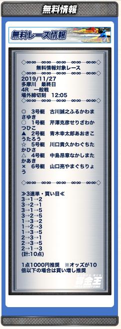 賞金王11月27日無料予想