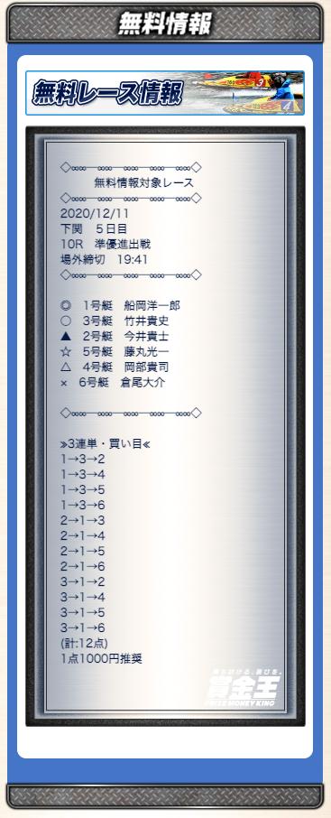賞金王2020年12月11日無料予想