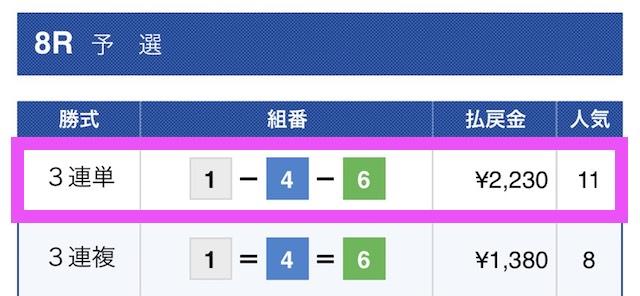 ナイトボートの有料予想結果2019/03/26