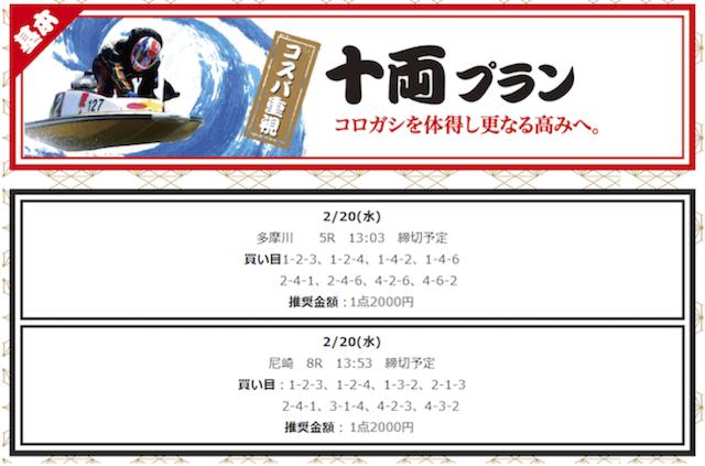 競艇部屋の有料予想2019/02/20