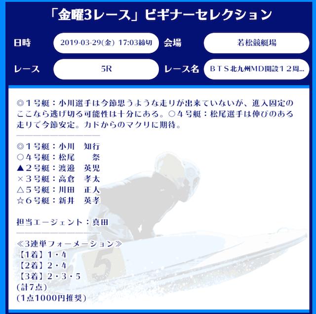 舟生の有料予想2019/03/29