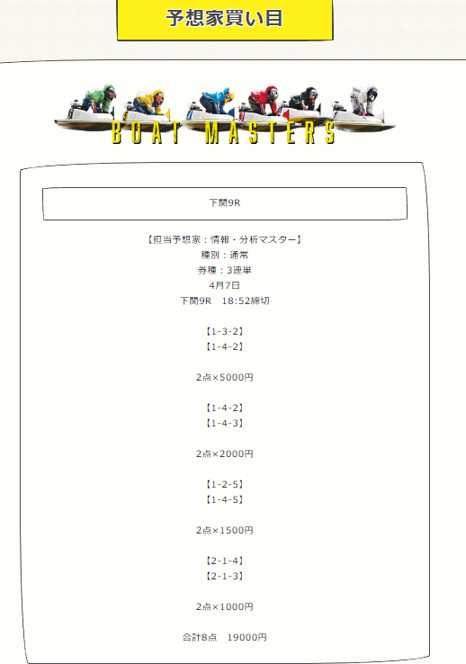 ボートマスターズの有料予想2019/04/07