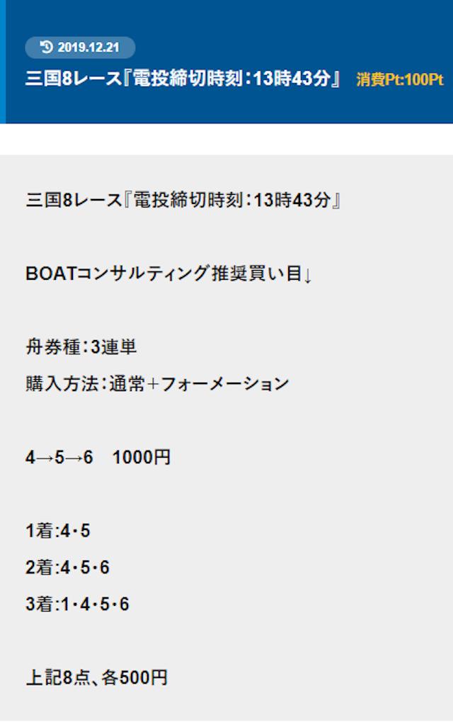 ボートコンサルティングの買い目画像