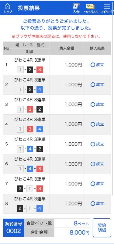 ボートパイレーツ:びわこ4R投票画面