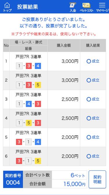 競艇バレット:戸田7R投票内容