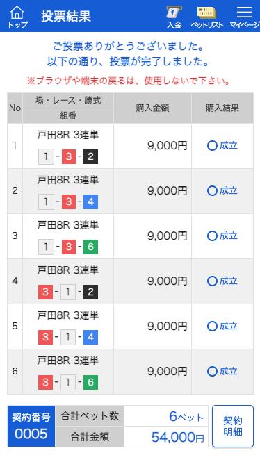 競艇バレット:戸田8R投票画面