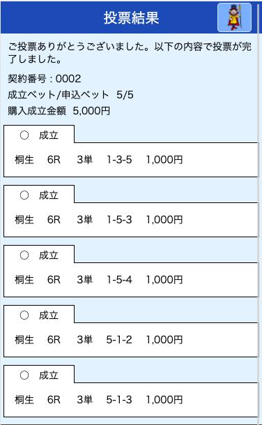 競艇ライナー:桐生6R投票画面