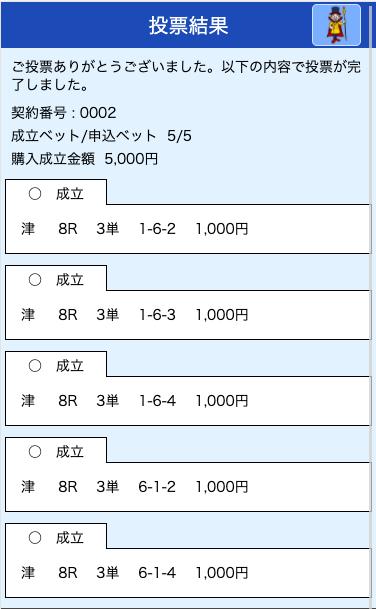 クラブギンガ:津8R投票画面