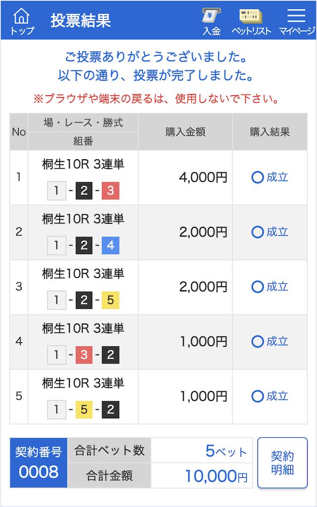 競艇予想サイト365の桐生の投票画像