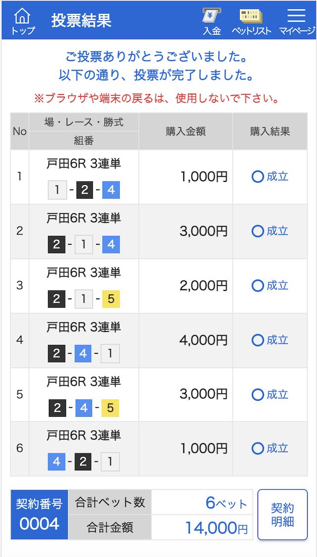 競艇予想サイト365の有料予想2021年5月22日戸田6Rの投票内容
